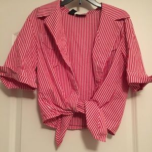 Striped tie up shirt
